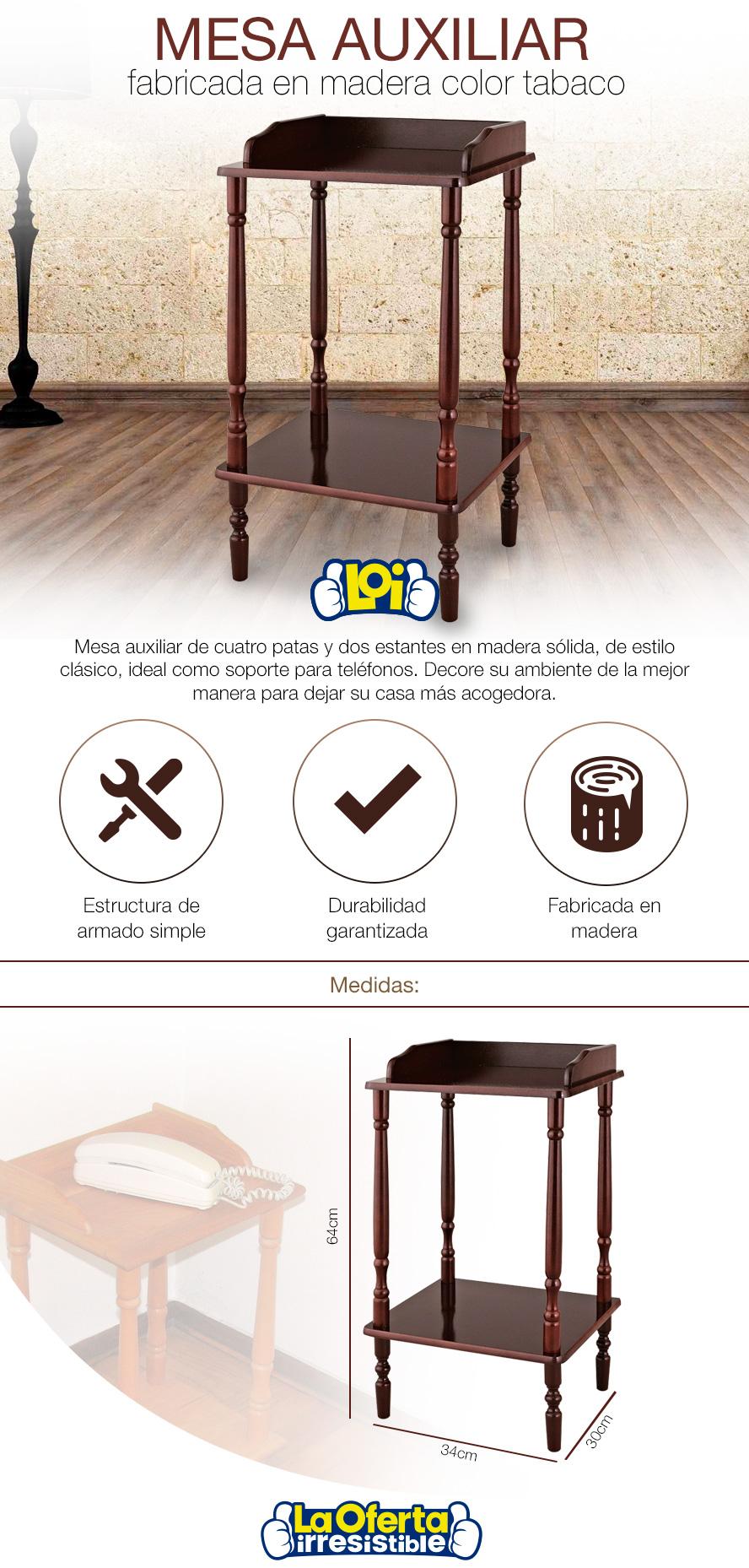 Mesa auxiliar fabricada en madera color tabaco oferta loi - Mesa auxiliar carrefour ...